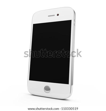 White Smart Phone isolated on white background - stock photo