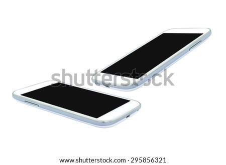 White smart phone , mobile , clipping path on white background , isolated  photo - stock photo