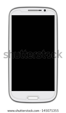 White Smart Phone with blank screen isolated on white. Clipping path included.