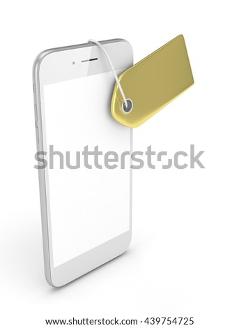 White smart phone with golden price tag on white background. Identification, price, label. Luxury and expensive offer. 3D rendering.