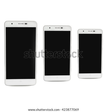 white smartphone and empty screen on white background - stock photo