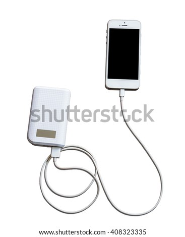 White Smartphone charging with power bank on white background