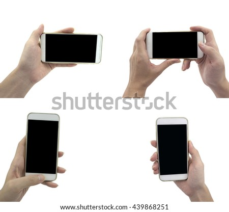 White smartphone mockup template Collection, You can use this smartphone with blank screen for your smartphone application presentation - stock photo