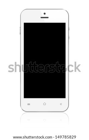 White Smartphone with blank screen on white background - stock photo