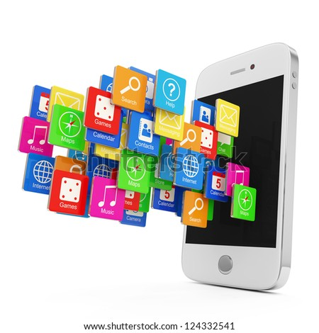 White Smartphone with Cloud of Application Icons isolated on white background - stock photo