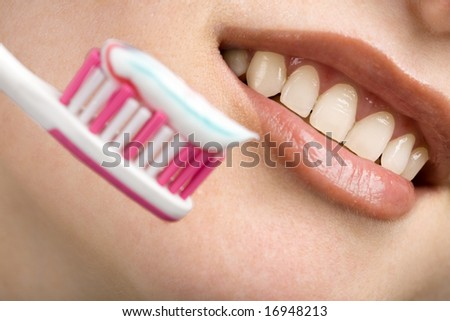 white smile and toothbrush. dental care - stock photo