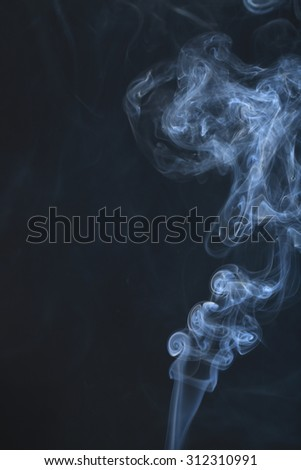 White smoke collection on black background with copy space