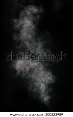 White smoke on black background - stock photo