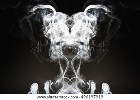 White smoke shape on a dark backgrounds