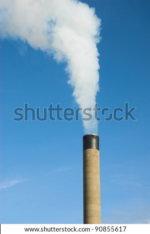 White Smoke Stack On Blue Sky