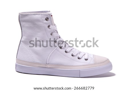 white sneaker isolated - stock photo