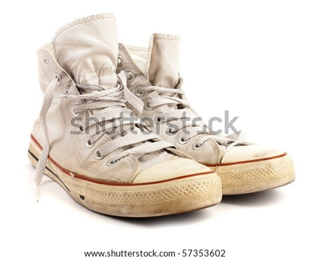 white sneakers - stock photo