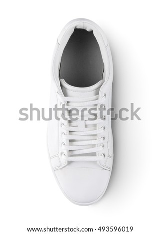 White sneakers isolated on white background with clipping path