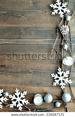 White snow flakes with candles.Image of winter and Christmas - stock photo