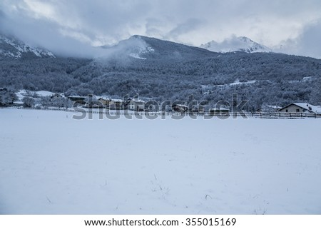 white snow in winter time - stock photo