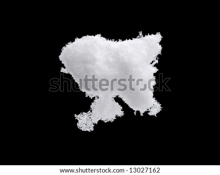White Snow Isolated on Pure Black Background - stock photo