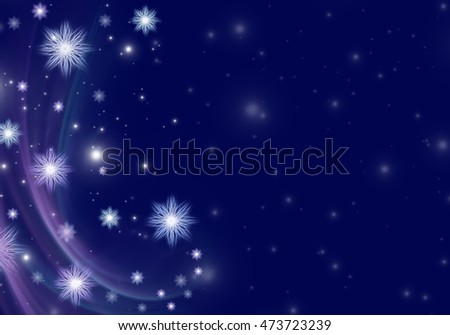 White snowflakes on a blue Christmas background. Space for text.