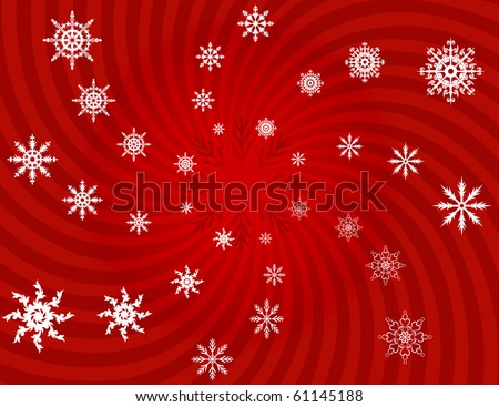 White snowflakes on a red background - stock photo