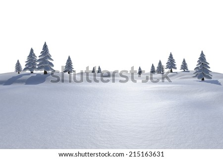 White snowy landscape with fir trees on white background