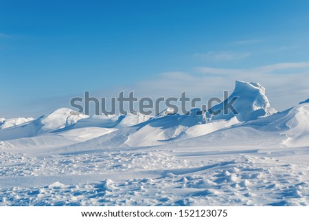 white snowy mountains in winter