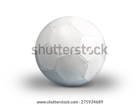 White Soccer ball on white background