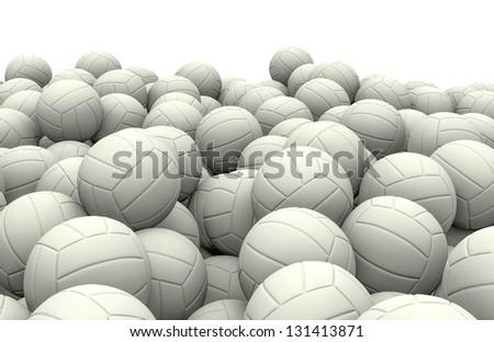 White soccer balls pile - stock photo