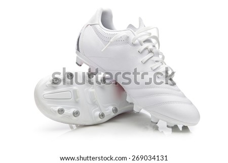 White Soccer shoes - stock photo