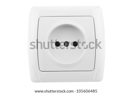 white socket front view isolated on white background - stock photo