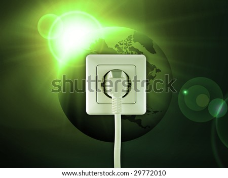 white socket on a bautiful green world free energy - stock photo