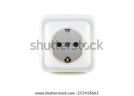 White socket with earthing and deepening of the plug isolated on white background - stock photo