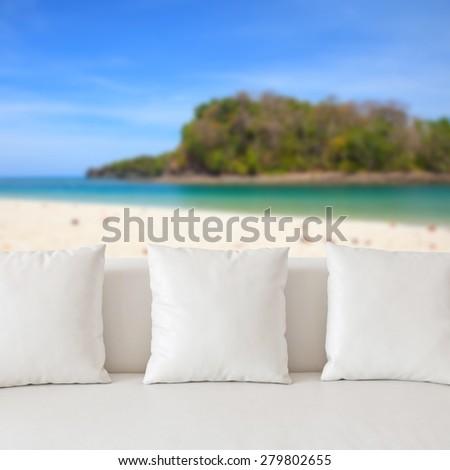 White sofa - stock photo