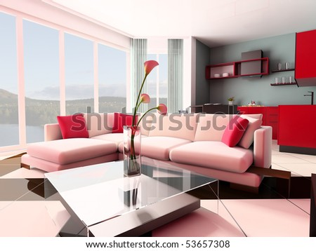 White sofa against a window in studio 3d image