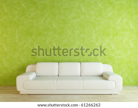 White sofa and green wall - fixed - stock photo