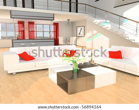 White sofa and stair in a drawing room 3d image