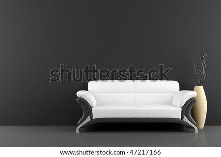 white sofa and vase with dry wood in front of black wall - stock photo