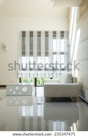 White sofa in modern interior - stock photo