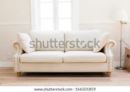 white sofa in the living room - stock photo