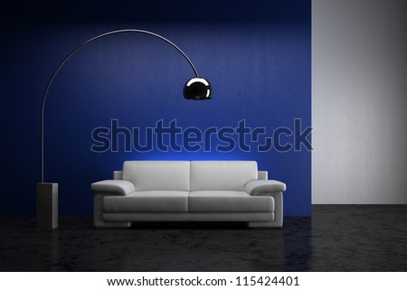White sofa in the room - High quality render - stock photo