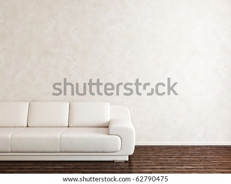 White sofa in white room - stock photo