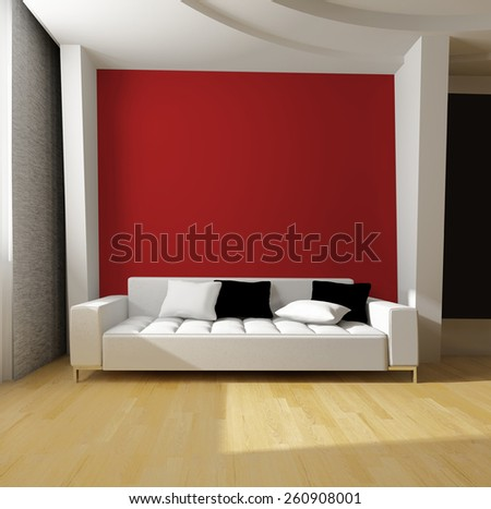 white sofa on red wall background 3d rendering