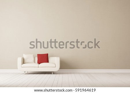 White Sofa With Two Pillows In Empty Room In Front Of Empty Wall (3D  Rendering