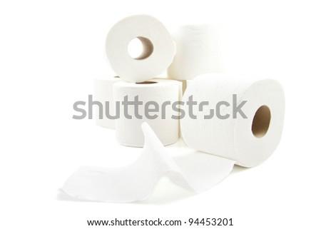White soft toiletpaper on a stack over white - stock photo