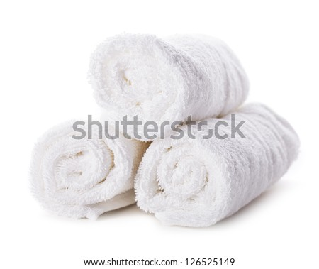 White spa towels pile isolated on white background - stock photo