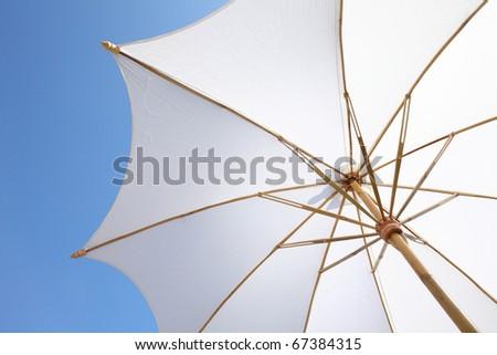 white spa umbrella - stock photo