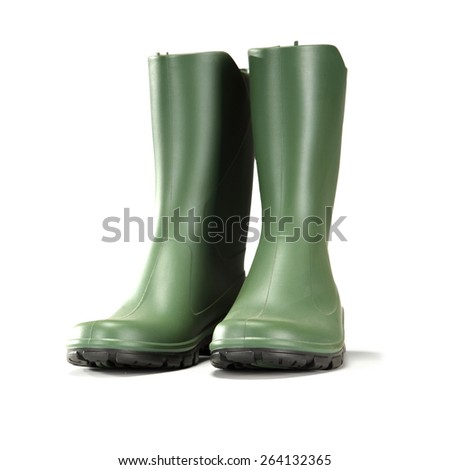 white space and green shoes  - stock photo