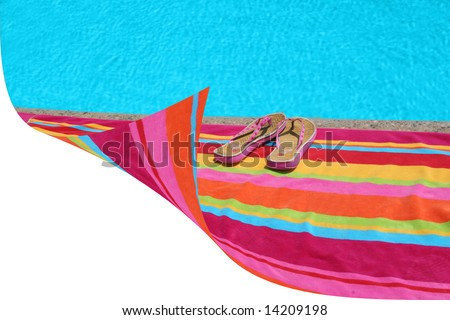 white space by beach towel - stock photo
