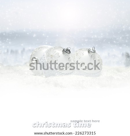 white space for you text and decoration of xmas balls  - stock photo