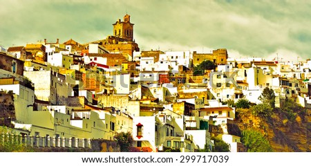 White Spanish Medieval Town on the Hill, Vintage Style Toned Picture - stock photo