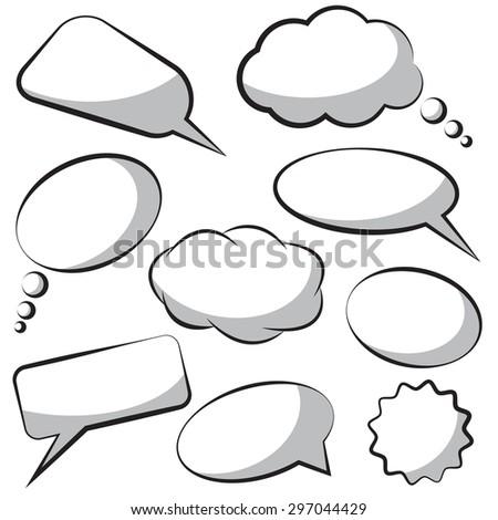 White speech bubbles. Raster version - stock photo