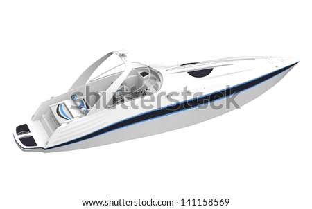 White Speedboat Isolated on White Background - stock photo